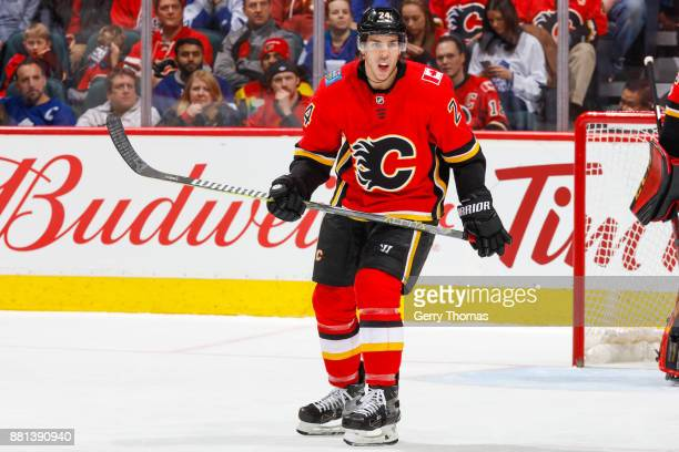 Travis Hamonic of the Calgary Flames in an NHL game against the Toronto Maple Leafs at the Scotiabank Saddledome on November 28 2017 in Calgary...