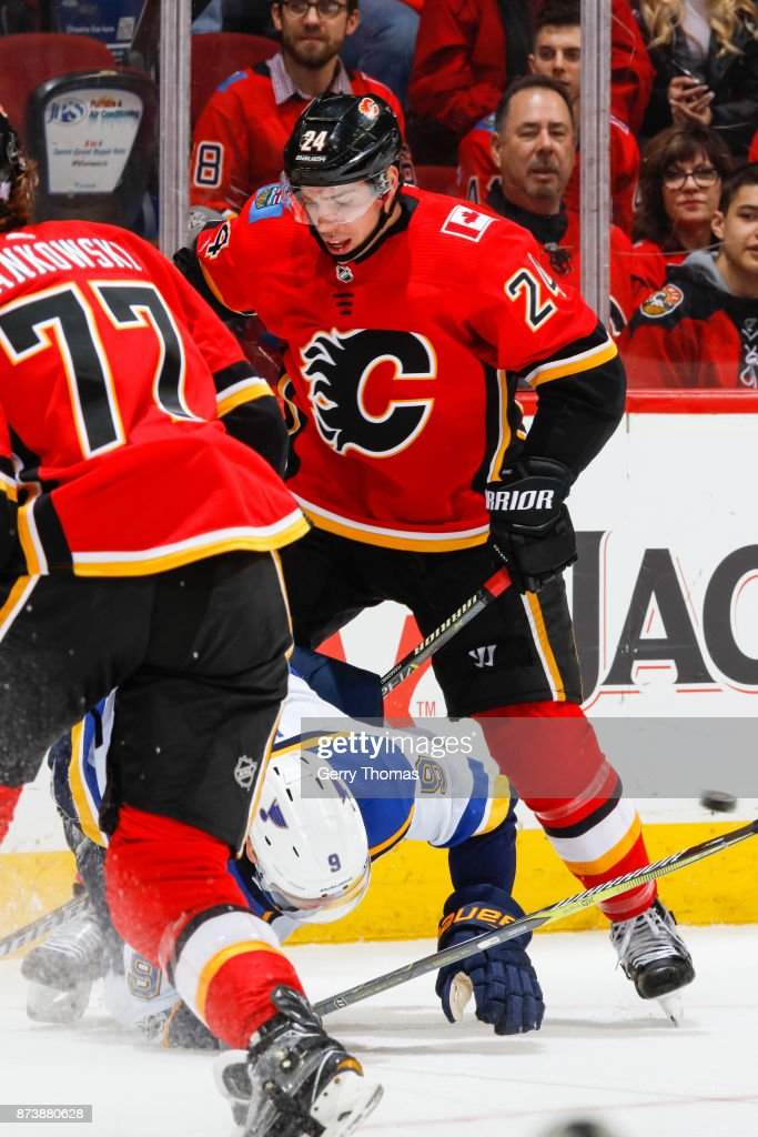 Travis Hamonic #24 of the Calgary Flames in an NHL game against the St. Louis Blues at the Scotiabank Saddledome on November 13, 2017 in Calgary, Alberta, Canada.