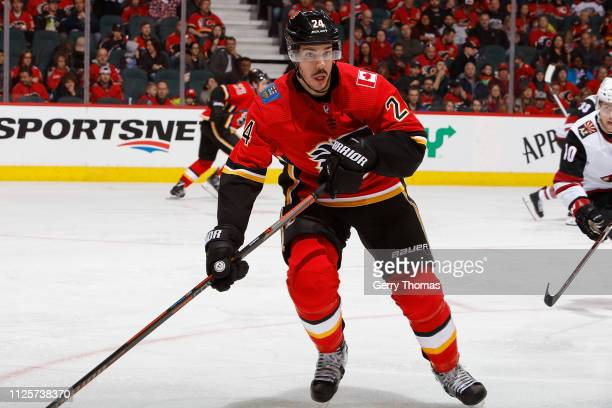 Travis Hamonic of the Calgary Flames skates against the Arizona Coyotes at Scotiabank Saddledome on February 18 2019 in Calgary Alberta Canada