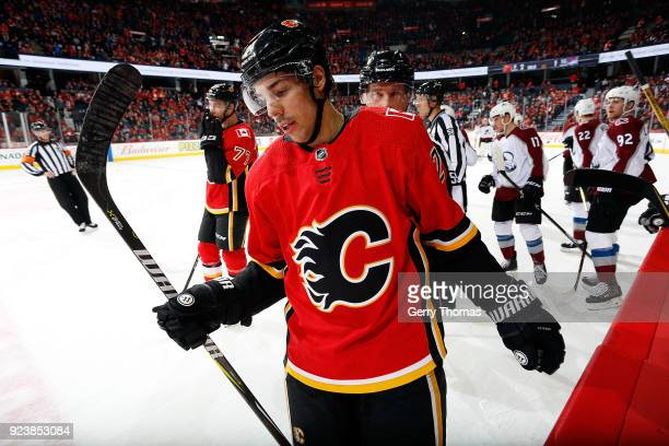 Travis Hamonic of the Calgary Flames skates against the Colorado Avalanche during an NHL game on February 24 2018 at the Scotiabank Saddledome in...