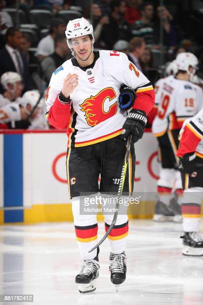 Travis Hamonic of the Calgary Flames skates against the Colorado Avalanche at the Pepsi Center on November 25 2017 in Denver Colorado The Flames...