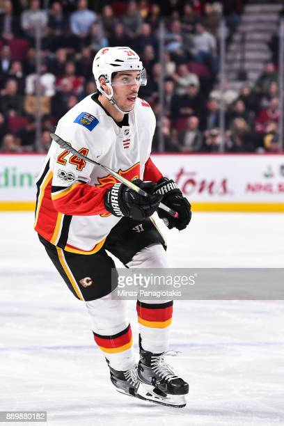 Travis Hamonic of the Calgary Flames skates against the Montreal Canadiens during the NHL game at the Bell Centre on December 7 2017 in Montreal...