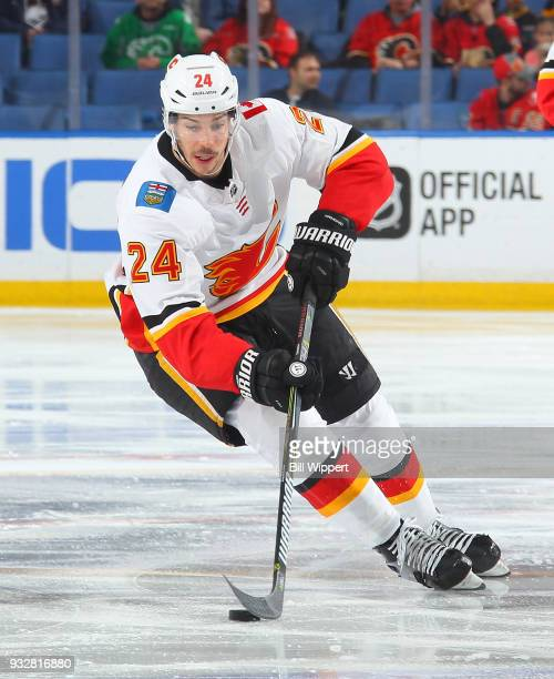 Travis Hamonic of the Calgary Flames skates during an NHL game against the Buffalo Sabres on March 7 2018 at KeyBank Center in Buffalo New York