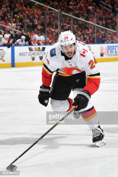 Travis Hamonic of the Calgary Flames skates during the game against the Edmonton Oilers on January 25 2017 at Rogers Place in Edmonton Alberta Canada