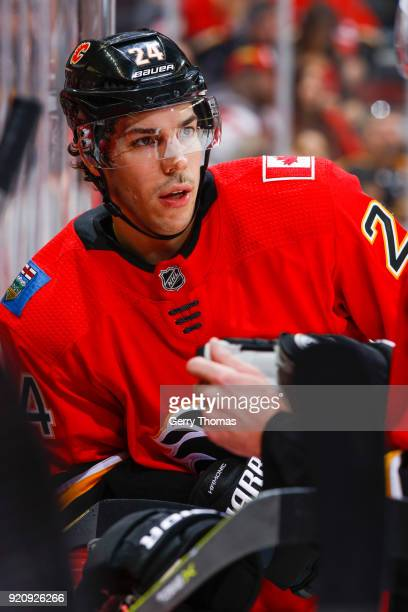 Travis Hamonic of the Calgary Flames takes a break in an NHL game on February 19 2018 at the Scotiabank Saddledome in Calgary Alberta Canada