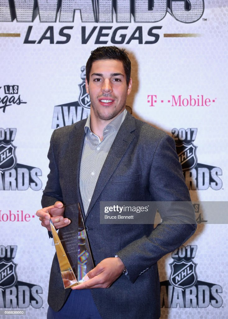 Travis Hamonic of the New York Islanders poses with the NHL Foundation Player Award during the 2017 NHL Humanitarian Awards at Encore Las Vegas on June 20, 2017 in Las Vegas, Nevada.