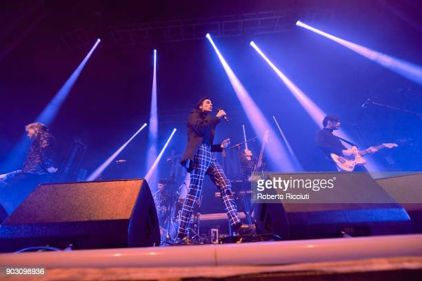 Travis Hawley of Night Riots performs on stage at O2 Academy Glasgow on January 9 2018 in Glasgow Scotland