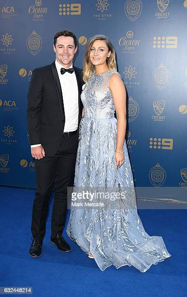 Travis Head and Jessica Davies arrive ahead of the 2017 Allan Border Medal at The Star on January 23 2017 in Sydney Australia