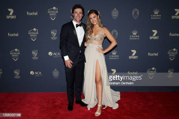 Travis Head and partner Jessica Davies arrives ahead of the 2020 Cricket Australia Awards at Crown Palladium on February 10 2020 in Melbourne...