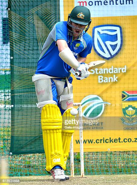 Travis Head during an Australia nets session at PPC Newlands on October 11 2016 in Cape Town South Africa