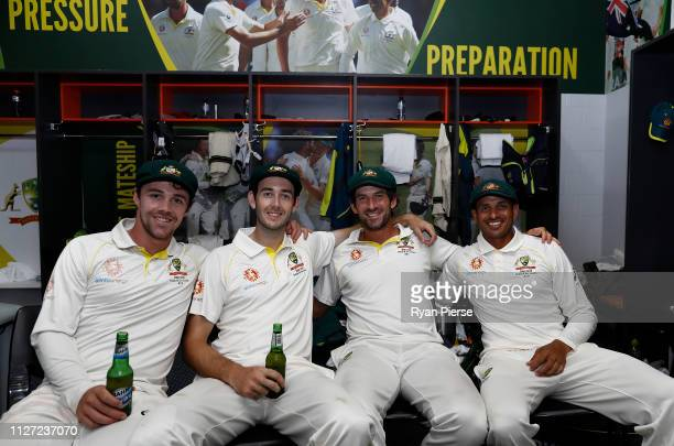 Travis Head Kurtis Patterson Joe Burns and Usman Khawaja of Australia who all scored centuries this test celebrate in the change rooms after day four...