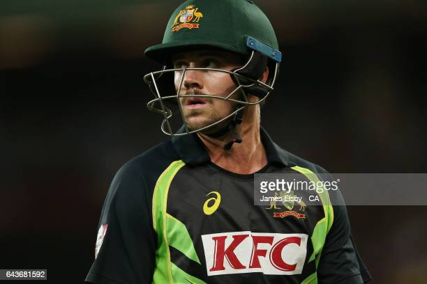 Travis Head of Australia after losing his wicket during the International Twenty20 match between Australia and Sri Lanka at Adelaide Oval on February...