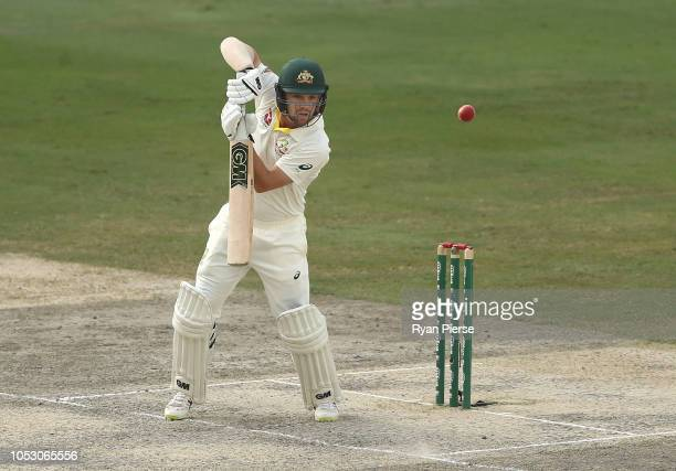 Travis Head of Australia bats during day four of the First Test match in the series between Australia and Pakistan at Dubai International Stadium on...