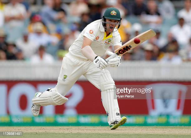 Travis Head of Australia bats during day one of the Second Test match between Australia and Sri Lanka at Manuka Oval on February 01, 2019 in...