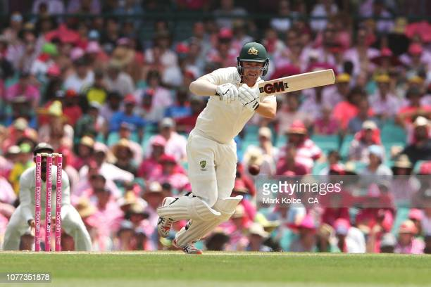 Travis Head of Australia bats during day three of the Fourth Test match in the series between Australia and India at Sydney Cricket Ground on January...