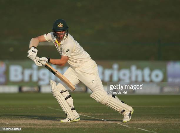 Travis Head of Australia bats during day three of the Second Test match between Australia and Pakistan at Sheikh Zayed stadium on October 18 2018 in...