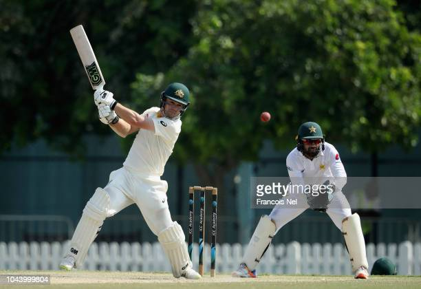 Travis Head of Australia bats during day three of the tour match between Australia and Pakistan A at ICC Academy on October 1 2018 in Dubai United...