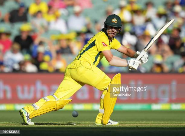 Travis Head of Australia bats during game four of the One Day International series between Australia and England at Adelaide Oval on January 26 2018...
