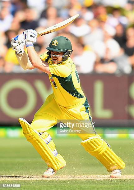 Travis Head of Australia bats during game three of the One Day International series between Australia and New Zealand at Melbourne Cricket Ground on...