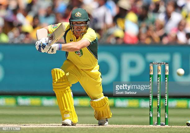 Travis Head of Australia bats during game two of the One Day International series between Australia and Pakistan at Melbourne Cricket Ground on...