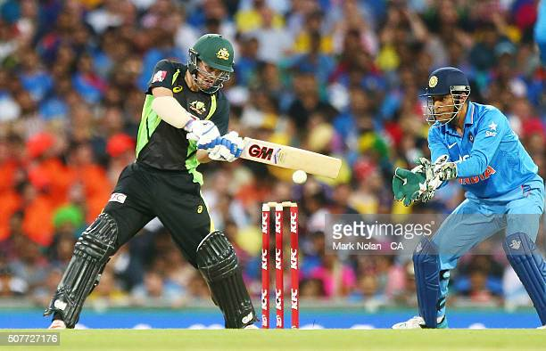 Travis Head of Australia bats during the International Twenty20 match between Australia and India at Sydney Cricket Ground on January 31 2016 in...