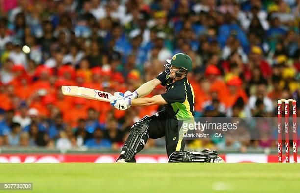 Travis Head of Australia bats during the International Twenty20 match between Australia and India at Sydney Cricket Ground on January 31 2016 in...