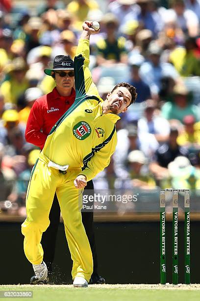Travis Head of Australia bowls during game three of the One Day International series between Australia and Pakistan at WACA on January 19 2017 in...