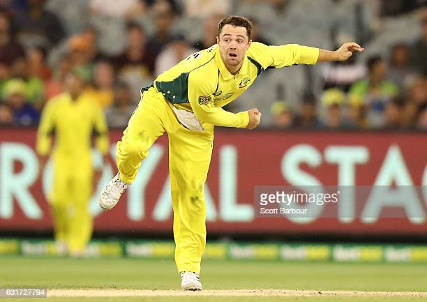 Travis Head of Australia bowls during game two of the One Day International series between Australia and Pakistan at Melbourne Cricket Ground on...