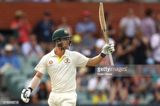 Travis Head of Australia celebrates after reaching his half century during day two of the First Test match in the series between Australia and India...