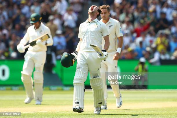 Travis Head of Australia celebrates after scoring a century during day two of the Second Test match in the series between Australia and New Zealand...