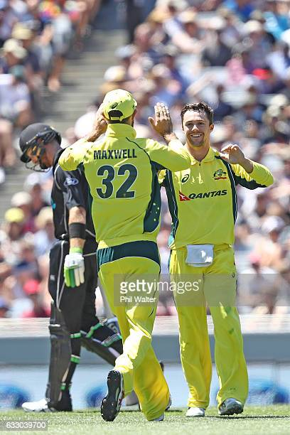 Travis Head of Australia celebrates bowling Ross Taylor of New Zealand during the first One Day International game between New Zealand and Australia...