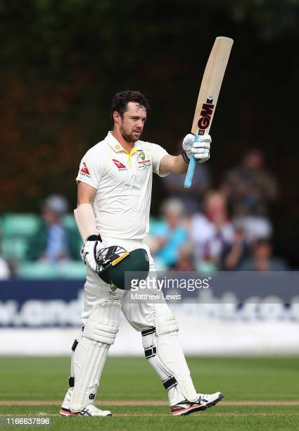 Travis Head of Australia celebrates his century during the first day of the Tour Match between Worcester and Australia at Blackfinch New Road on...