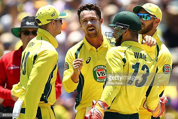 Travis Head of Australia celebrates with team mates after dismissing Sharjeel Khan of Pakistan during game three of the One Day International series...