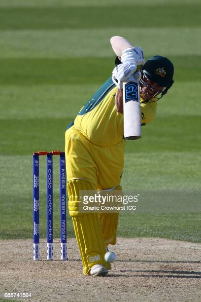 Travis Head of Australia hits out during the ICC Champions Trophy Warmup match between Australia and Sri Lanka at The Kia Oval on May 26 2017 in...