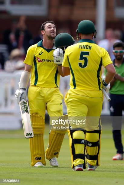Travis Head of Australia is congratulated on his century by Aaron Finch during the One Day Tour match between Middlesex and Australia at Lord's...