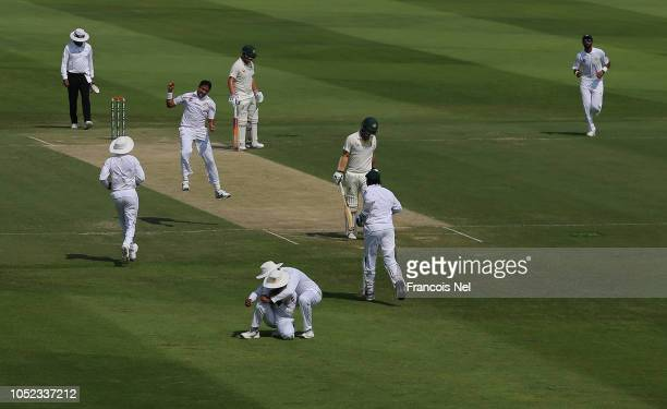 Travis Head of Australia is dismissed by Mohammad Abbas of Pakistan during day two of the Second Test match between Australia and Pakistan at Sheikh...