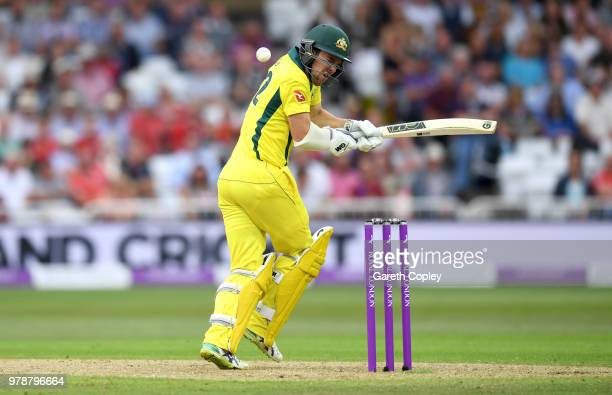 Travis Head of Australia is hit by a ball from Mark Wood of England during the 3rd Royal London ODI match between England and Australia at Trent...