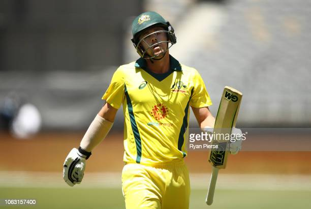 Travis Head of Australia looks dejected after being dismissed by Dale Steyn of South Africa during game one of the Gillette One Day International...