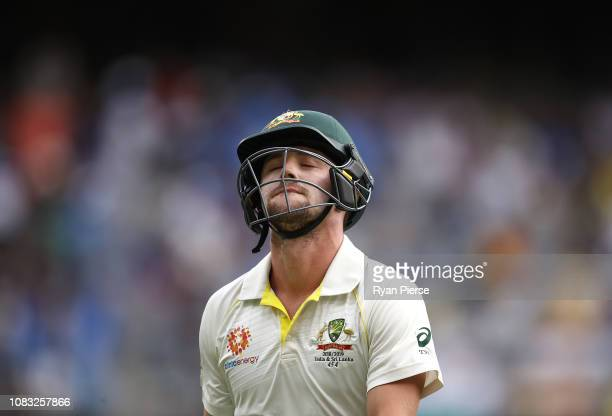 Travis Head of Australia looks dejected after being dismissed by Mohammed Shami of India during day three of the second match in the Test series...