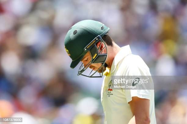 Travis Head of Australia looks dejected after1 his dismissal during day three of the Third Test match in the series between Australia and India at...