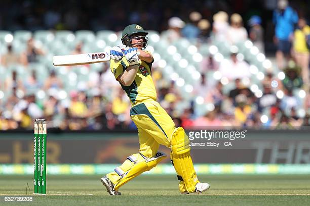 Travis Head of Australia plays a shot during game five of the One Day International series between Australia and Pakistan at Adelaide Oval on January...