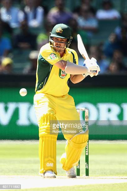 Travis Head of Australia plays a shot during game two of the One Day International series between Australia and Pakistan at Melbourne Cricket Ground...