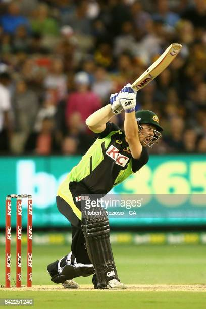 Travis Head of Australia plays a shot during the first International Twenty20 match between Australia and Sri Lanka at Melbourne Cricket Ground on...