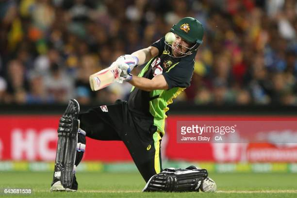 Travis Head of Australia plays a shot during the International Twenty20 match between Australia and Sri Lanka at Adelaide Oval on February 22 2017 in...