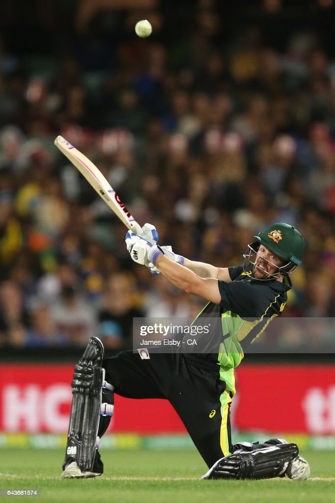 Travis Head of Australia plays a shot during the International Twenty20 match between Australia and Sri Lanka at Adelaide Oval on February 22, 2017 in Adelaide, Australia.