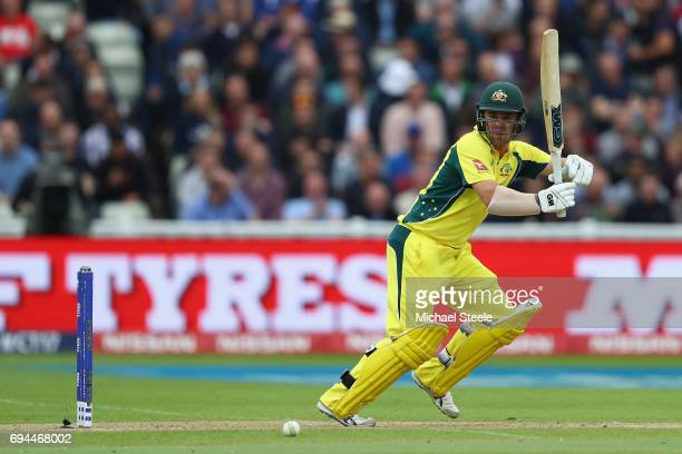Travis Head of Australia plays to the legside during the ICC Champions Trophy match between England and Australia at Edgbaston on June 10 2017 in...