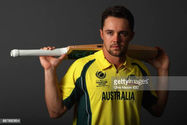 Travis Head of Australia poses during a portrait session ahead of the ICC Champions Trophy at the Royal Garden Hotel on May 24 2017 in London England