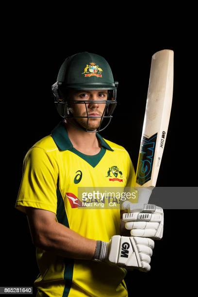 Travis Head of Australia poses during the Australia cricket team portrait session at Intercontinental Double Bay on October 15 2017 in Sydney...