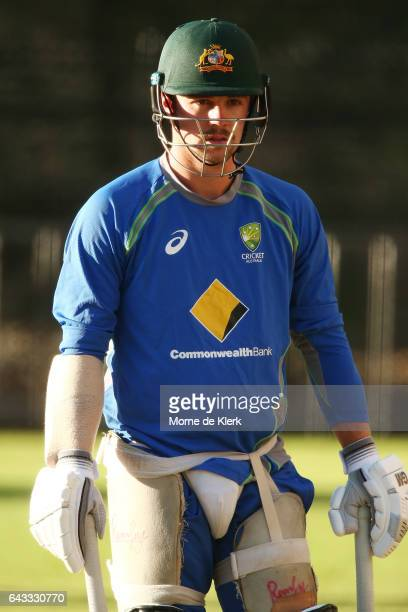 Travis Head of Australia prepares to bat during an Australia T20 training session at Adelaide Oval on February 21 2017 in Adelaide Australia