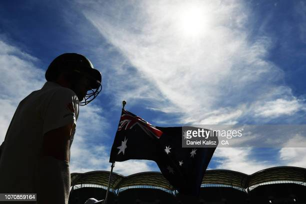 Travis Head of Australia prepares to bat during day five of the First Test match in the series between Australia and India at Adelaide Oval on...
